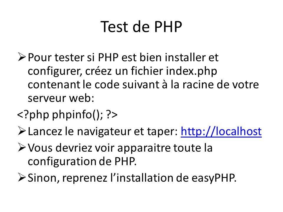 Test de PHP