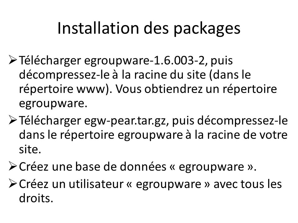 Installation des packages