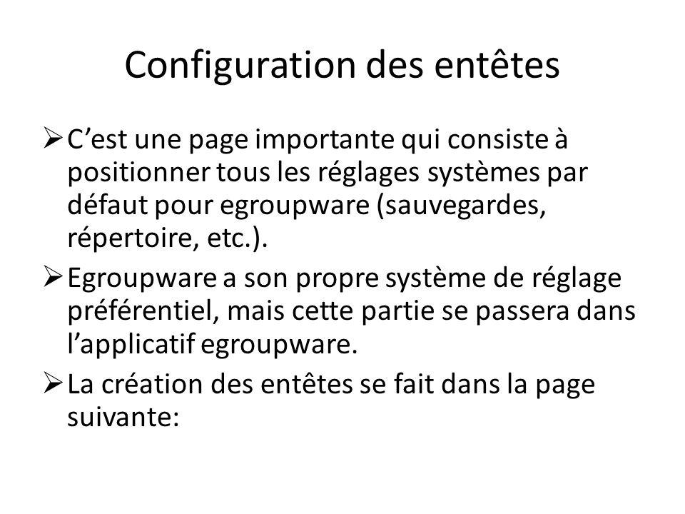 Configuration des entêtes