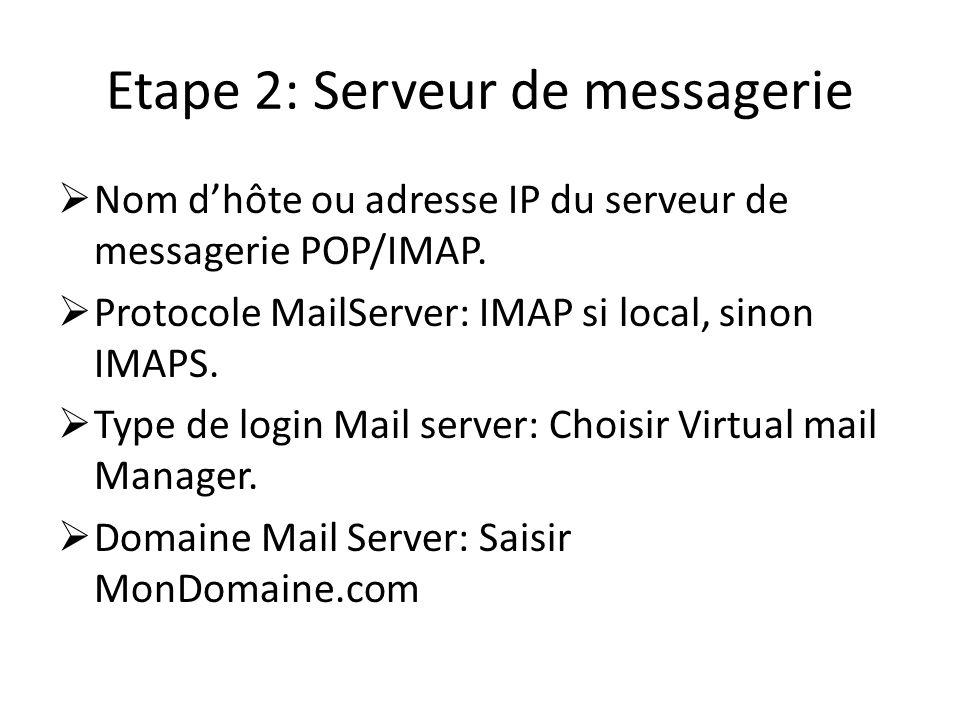 Etape 2: Serveur de messagerie