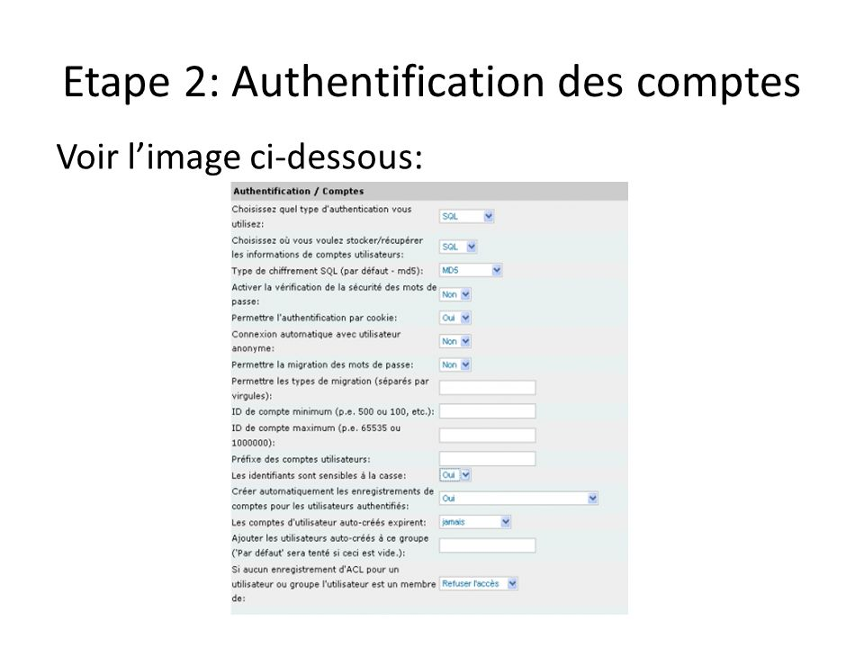Etape 2: Authentification des comptes