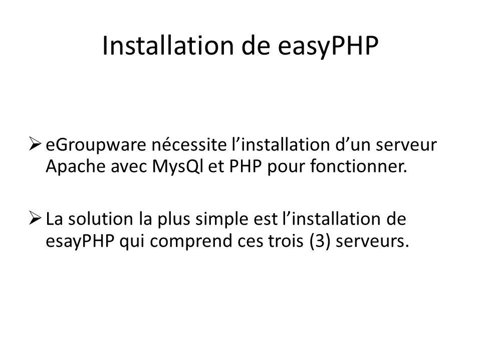 Installation de easyPHP
