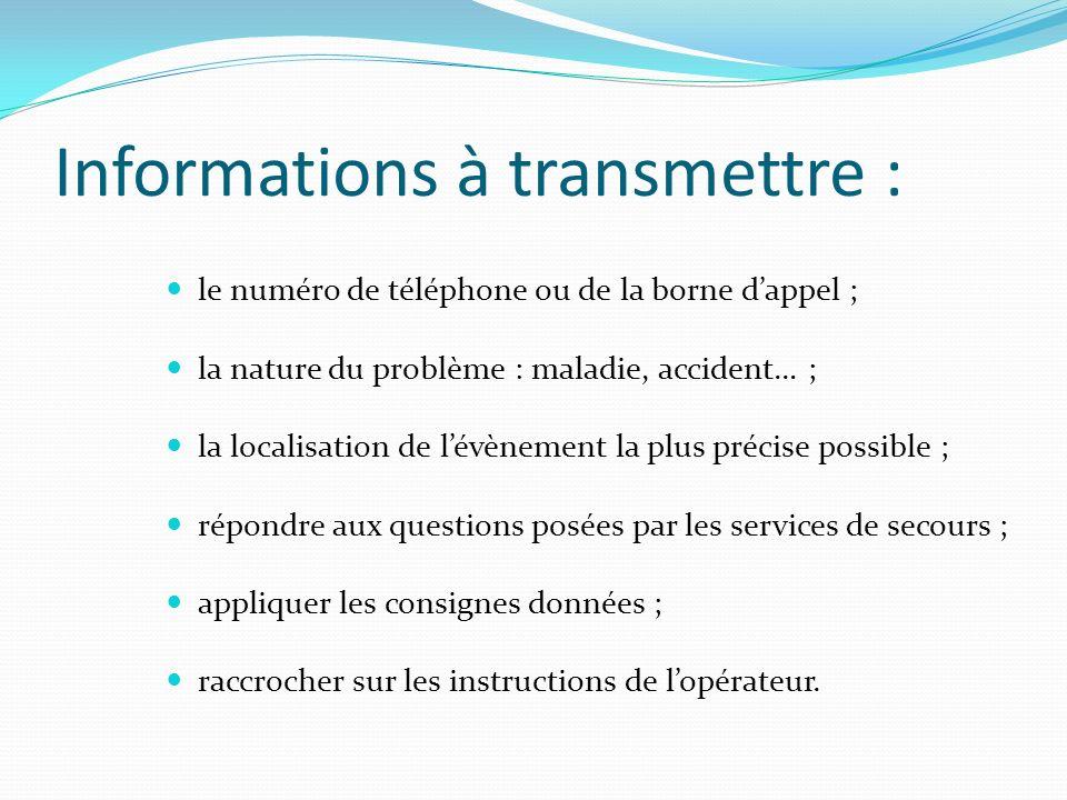 Informations à transmettre :