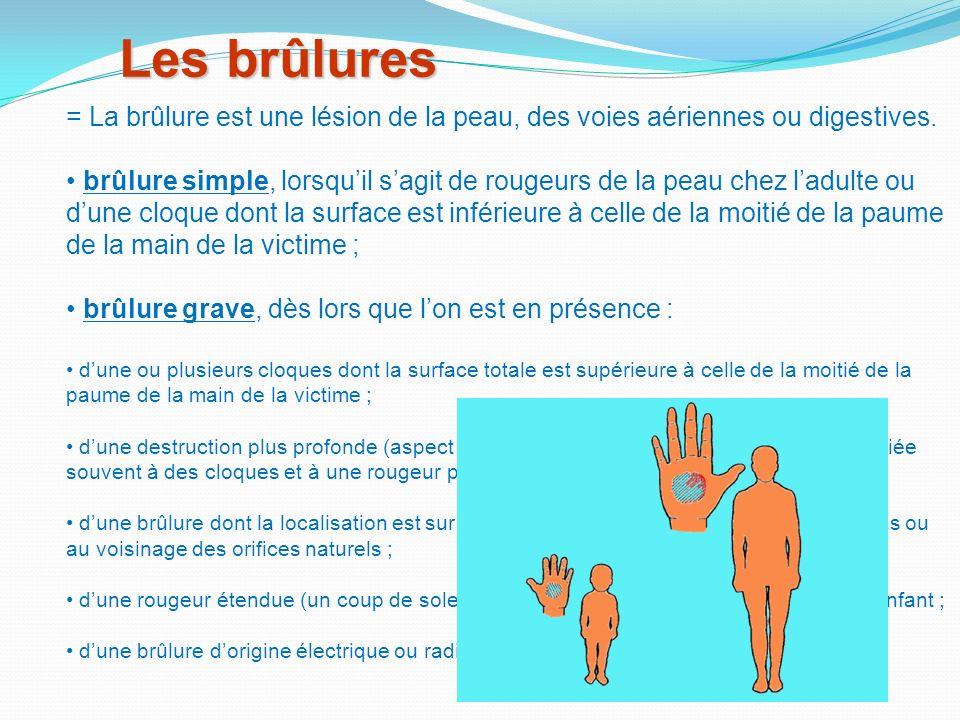 Les brûlures = La brûlure est une lésion de la peau, des voies aériennes ou digestives.