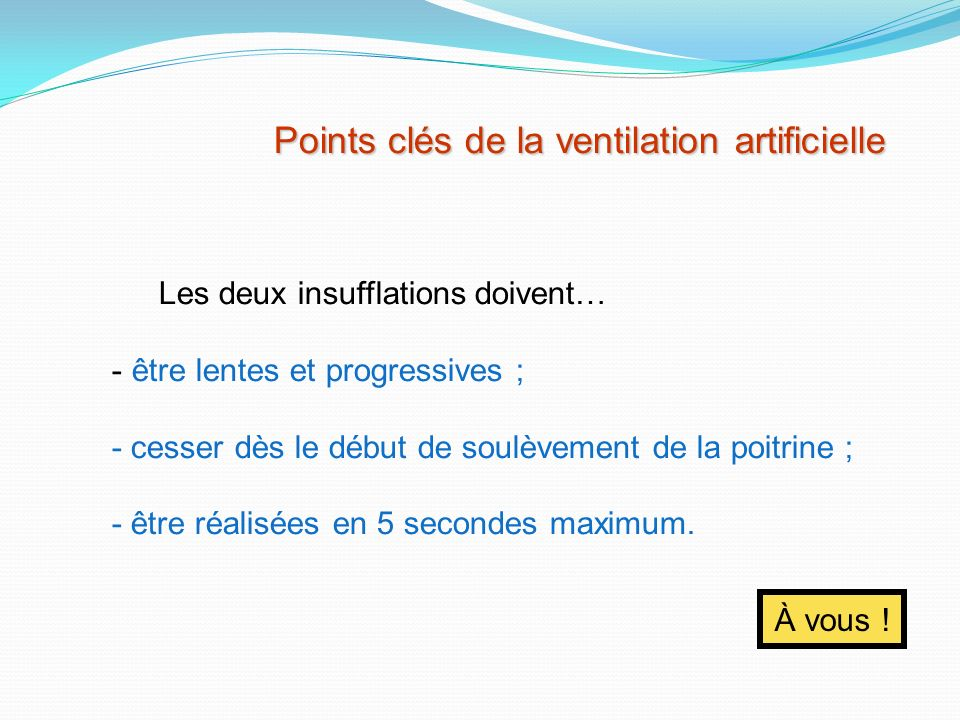 Points clés de la ventilation artificielle