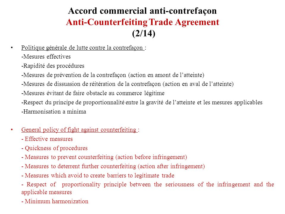 Accord commercial anti-contrefaçon Anti-Counterfeiting Trade Agreement (2/14)