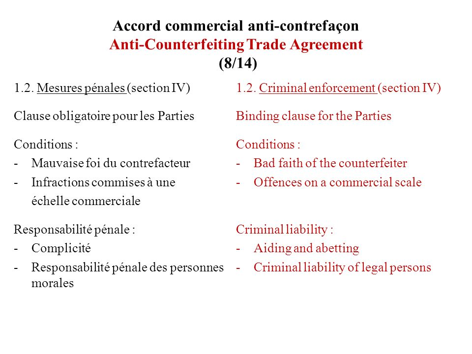 Accord commercial anti-contrefaçon Anti-Counterfeiting Trade Agreement (8/14)