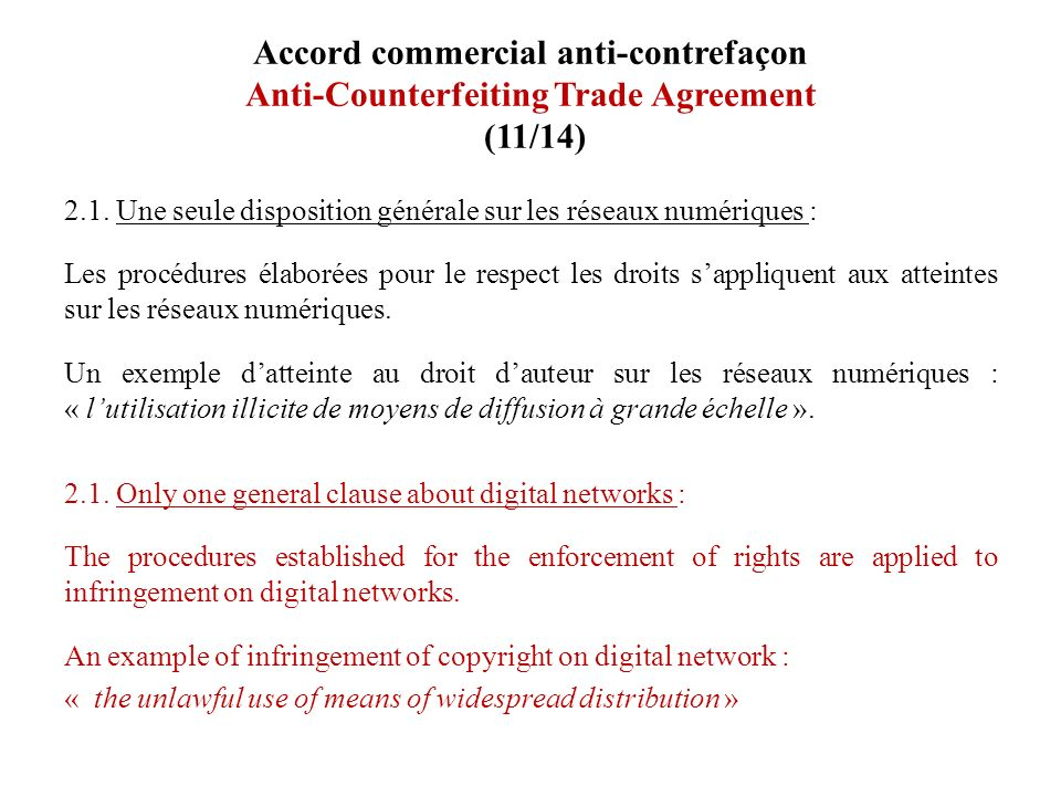 Accord commercial anti-contrefaçon Anti-Counterfeiting Trade Agreement (11/14)