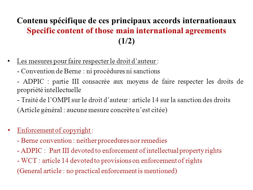 Contenu spécifique de ces principaux accords internationaux Specific content of those main international agreements (1/2)