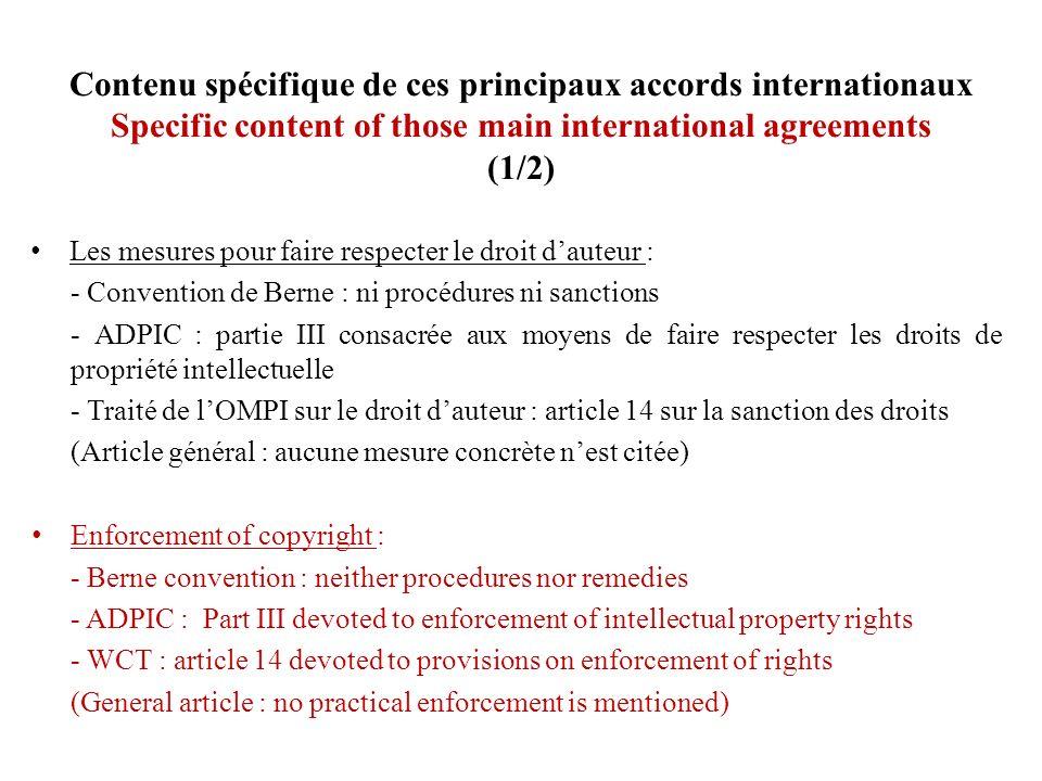 Contenu spécifique de ces principaux accords internationaux Specific content of those main international agreements (1/2)