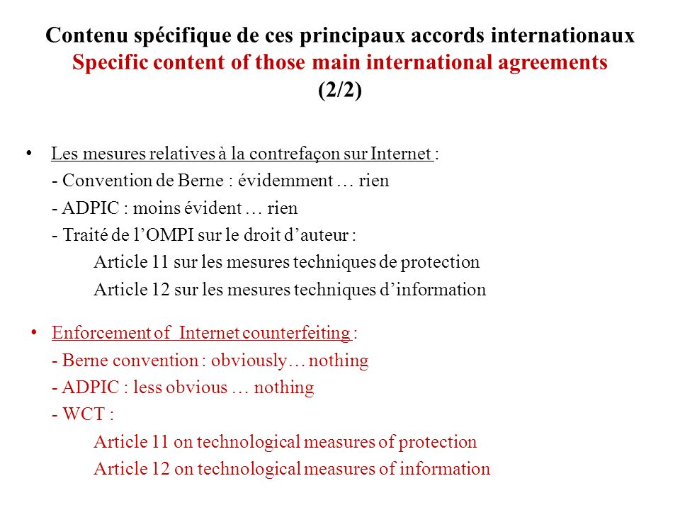 Contenu spécifique de ces principaux accords internationaux Specific content of those main international agreements (2/2)
