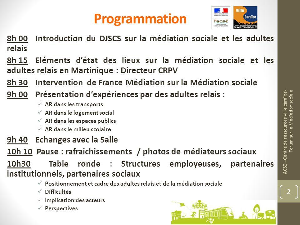 Programmation 8h 00 Introduction du DJSCS sur la médiation sociale et les adultes relais.
