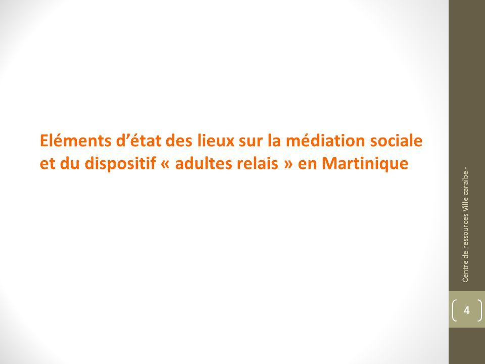 Eléments d'état des lieux sur la médiation sociale et du dispositif « adultes relais » en Martinique