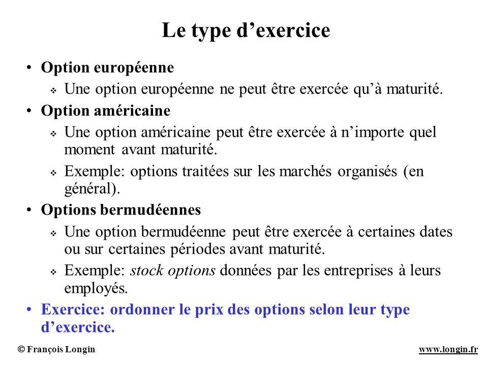 Le type d'exercice Option européenne