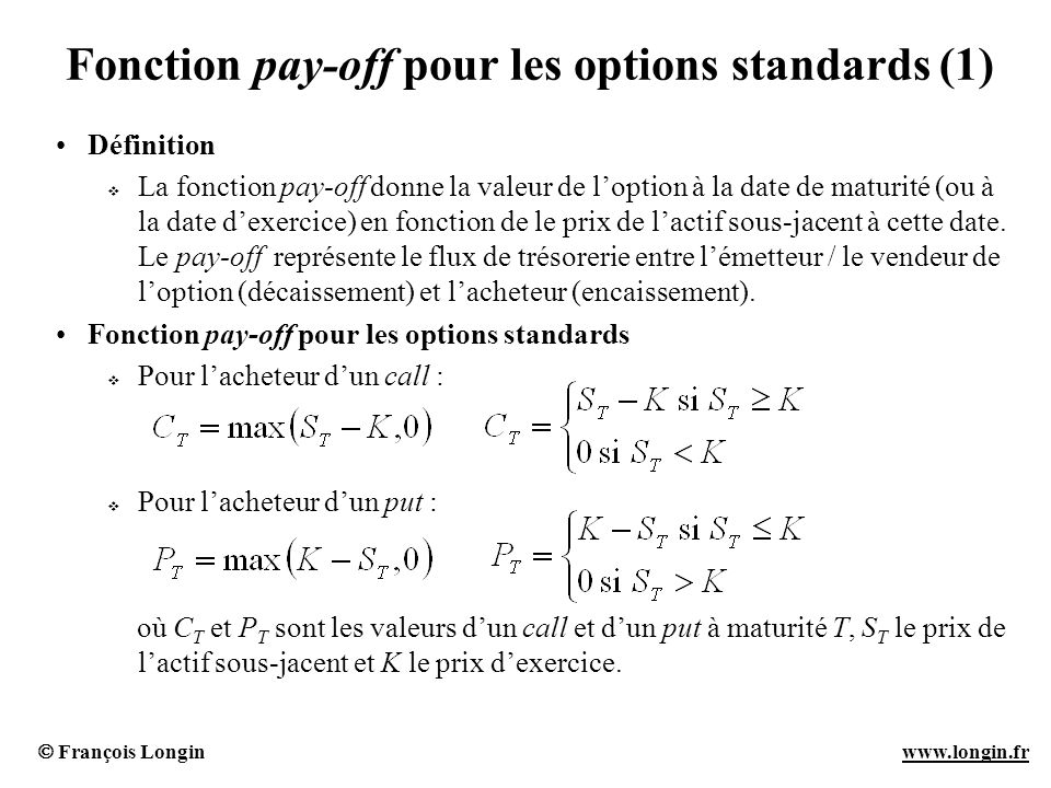 Fonction pay-off pour les options standards (1)