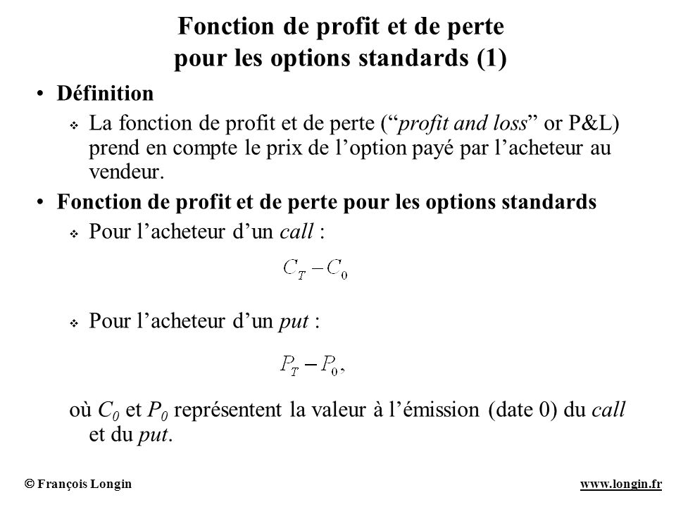 Fonction de profit et de perte pour les options standards (1)