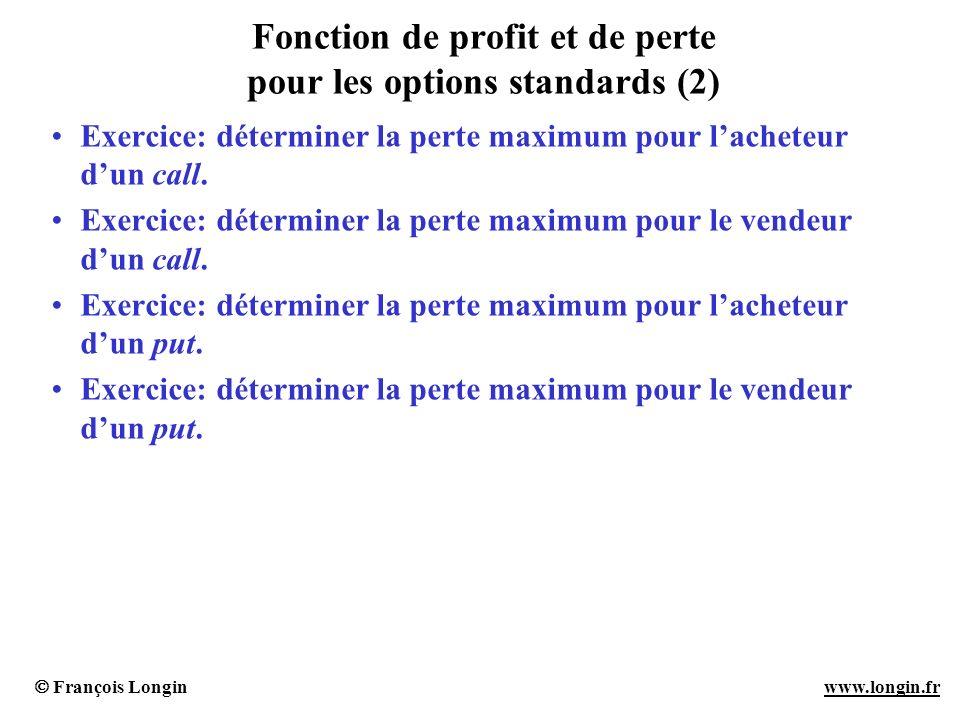 Fonction de profit et de perte pour les options standards (2)