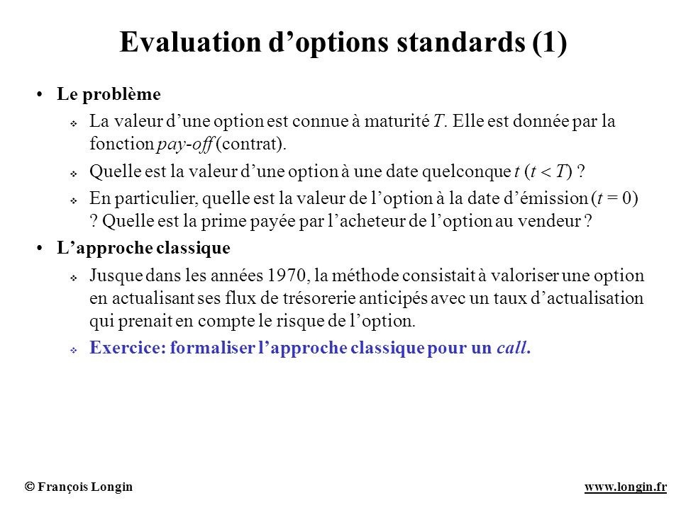 Evaluation d'options standards (1)