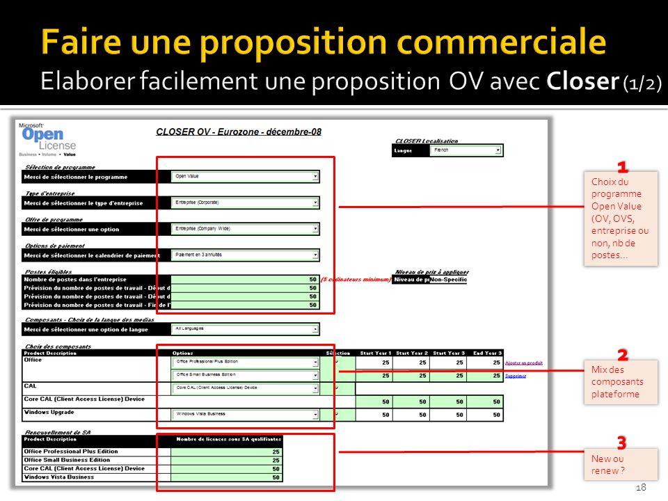 Faire une proposition commerciale Elaborer facilement une proposition OV avec Closer (1/2)