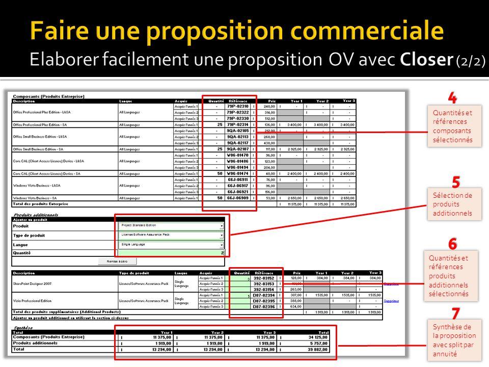 Faire une proposition commerciale Elaborer facilement une proposition OV avec Closer (2/2)