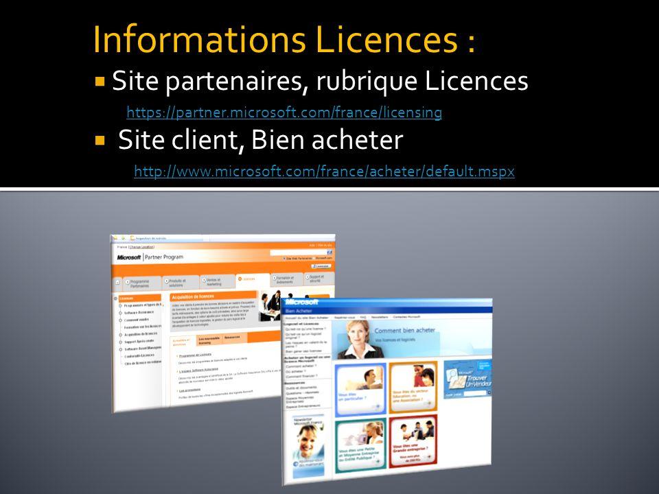 Informations Licences : Site partenaires, rubrique Licences