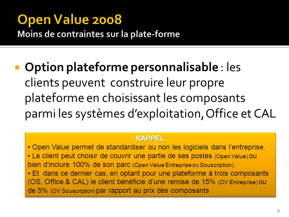 Open Value 2008 Moins de contraintes sur la plate-forme.