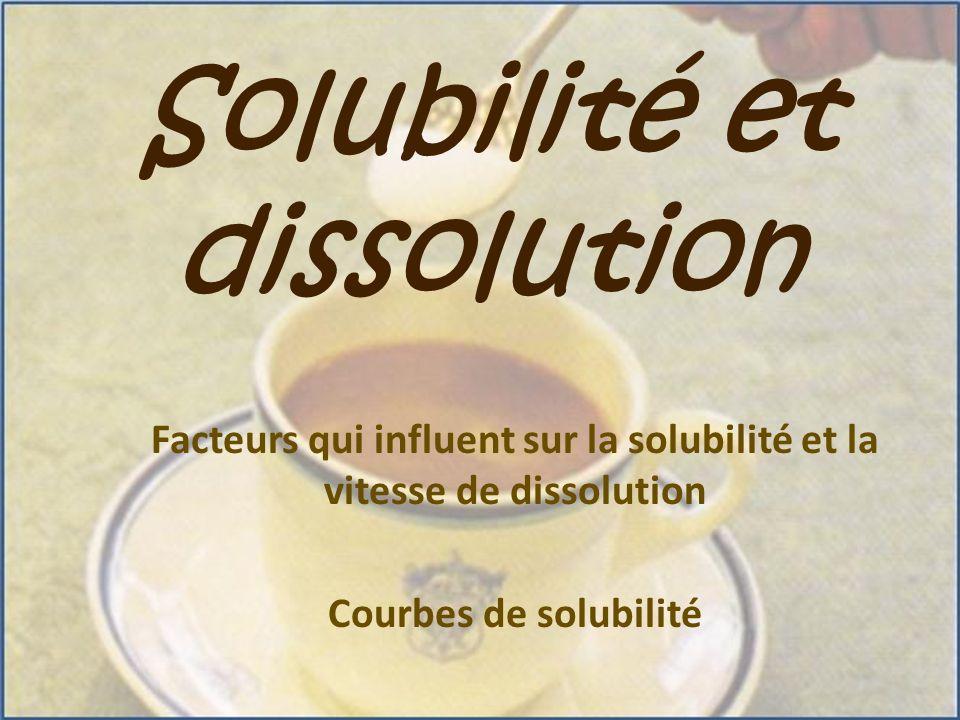 Solubilité et dissolution