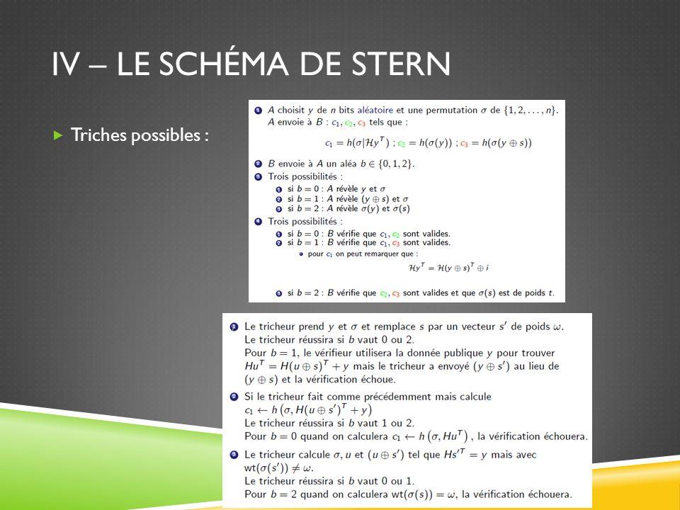 IV – Le schéma de Stern Triches possibles : Alice calcule s=H*e