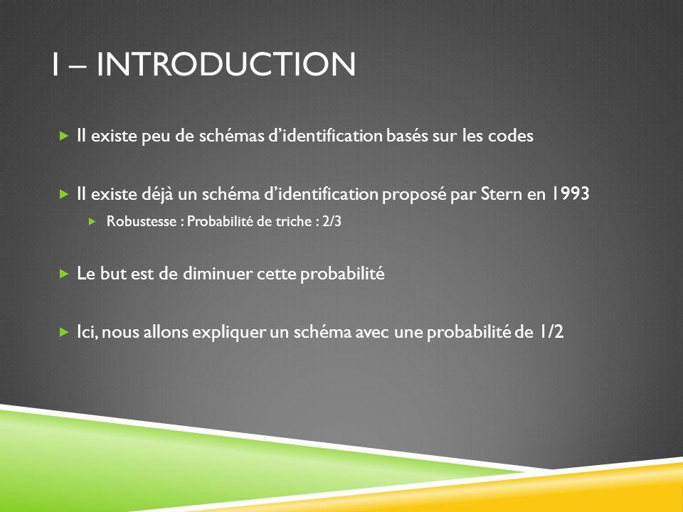 I – Introduction Il existe peu de schémas d'identification basés sur les codes. Il existe déjà un schéma d'identification proposé par Stern en 1993.