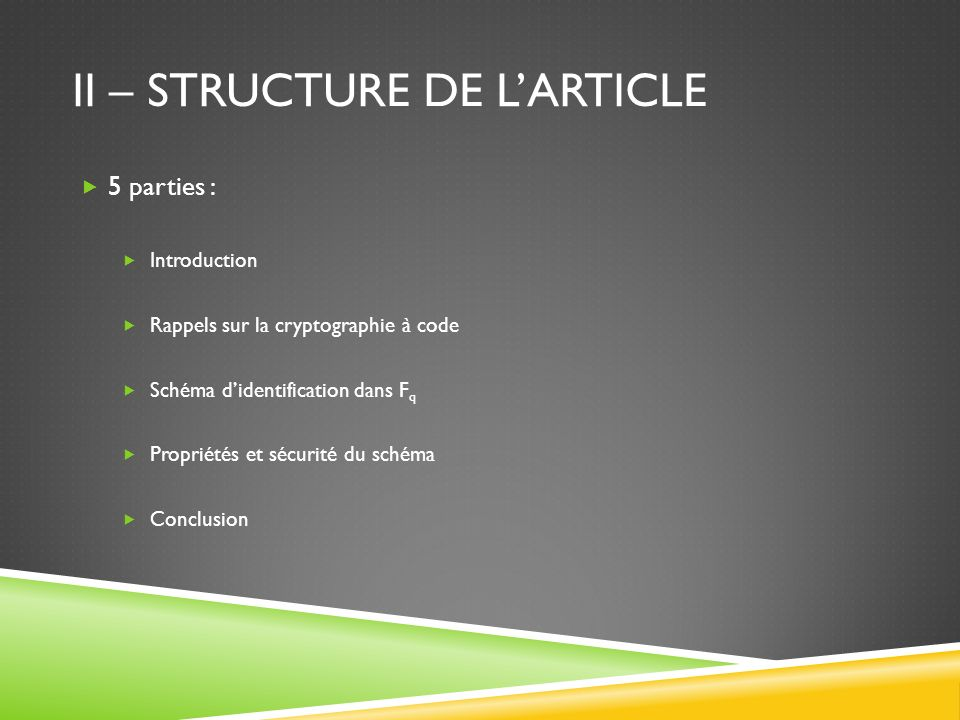 II – Structure de l'article