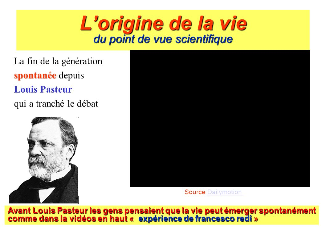 L'origine de la vie du point de vue scientifique