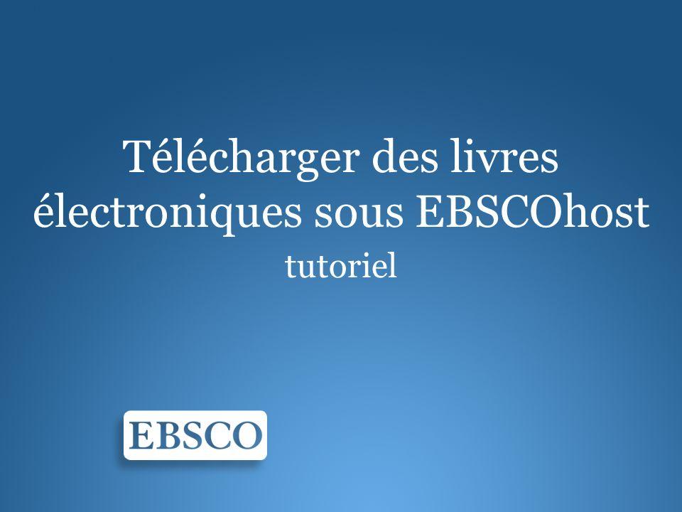 Télécharger des livres électroniques sous EBSCOhost tutoriel
