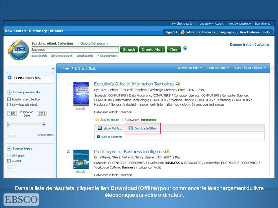 Dans la liste de résultats, cliquez le lien Download (Offline) pour commencer le téléchargement du livre électronique sur votre ordinateur.