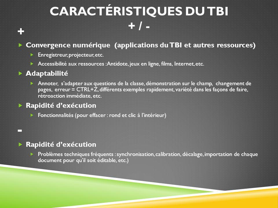 Caractéristiques du TBI + / -