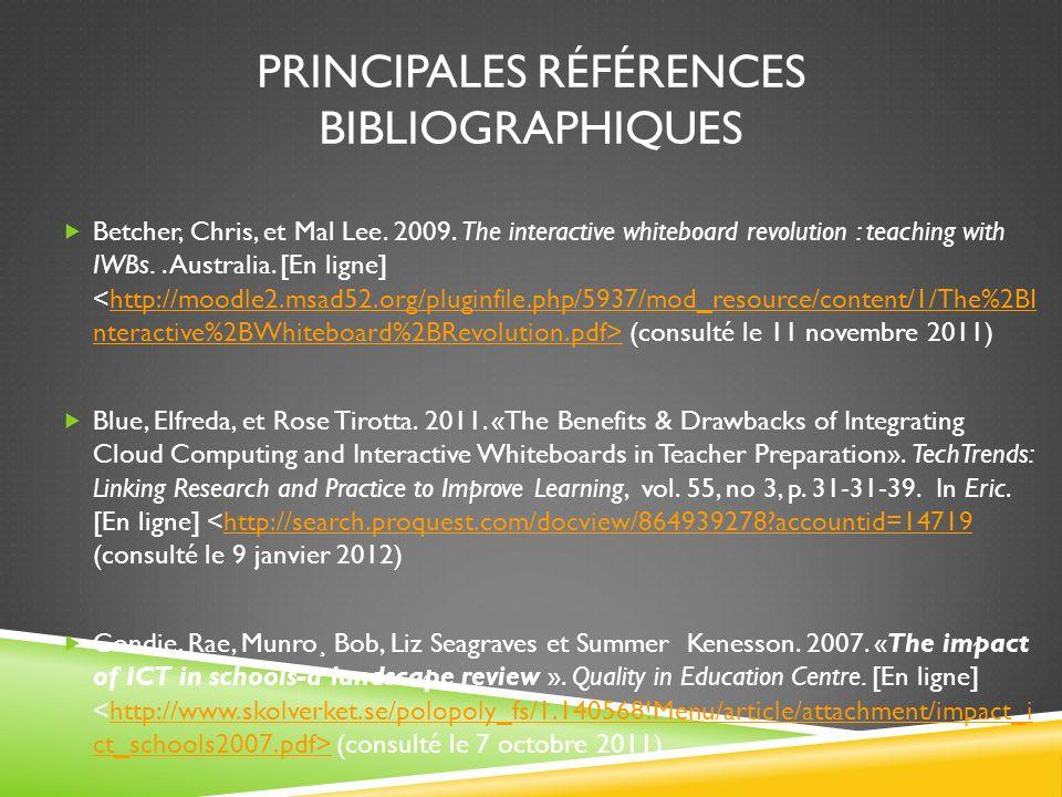 Principales références bibliographiques
