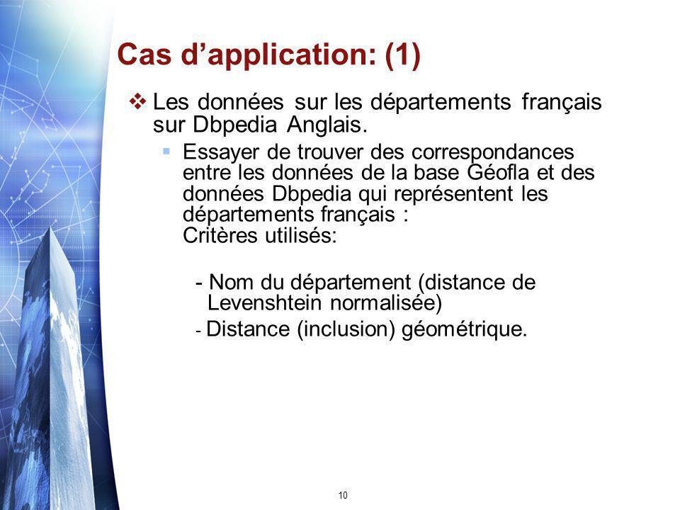 Cas d'application: (1) Les données sur les départements français sur Dbpedia Anglais.
