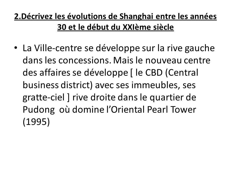 2.Décrivez les évolutions de Shanghai entre les années 30 et le début du XXIème siècle