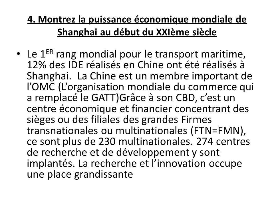 4. Montrez la puissance économique mondiale de Shanghai au début du XXIème siècle