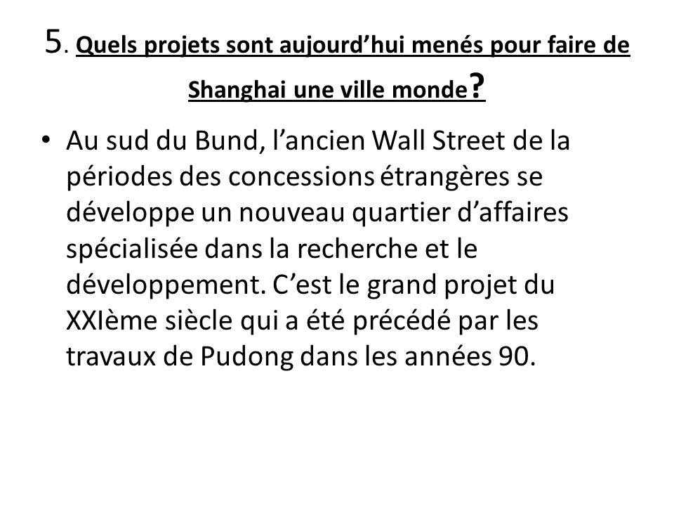 5. Quels projets sont aujourd'hui menés pour faire de Shanghai une ville monde