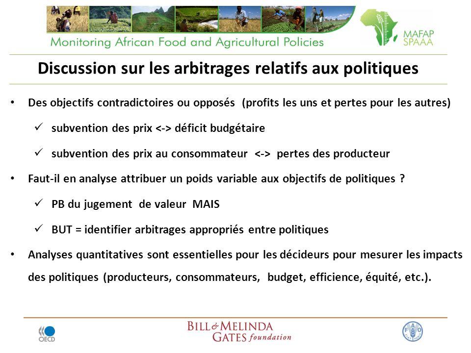 Discussion sur les arbitrages relatifs aux politiques