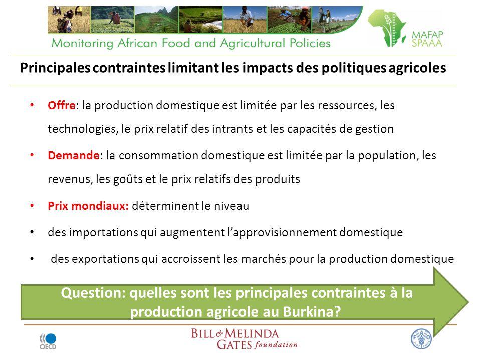 Principales contraintes limitant les impacts des politiques agricoles