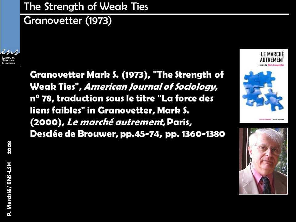 The Strength of Weak Ties Granovetter (1973)