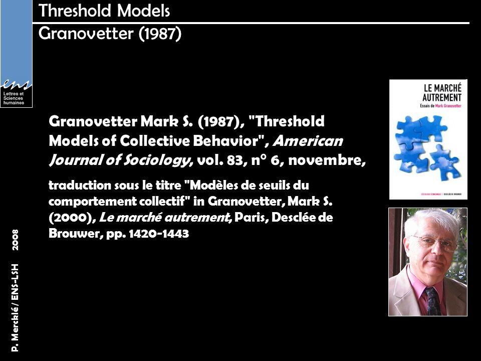 Threshold Models Granovetter (1987)