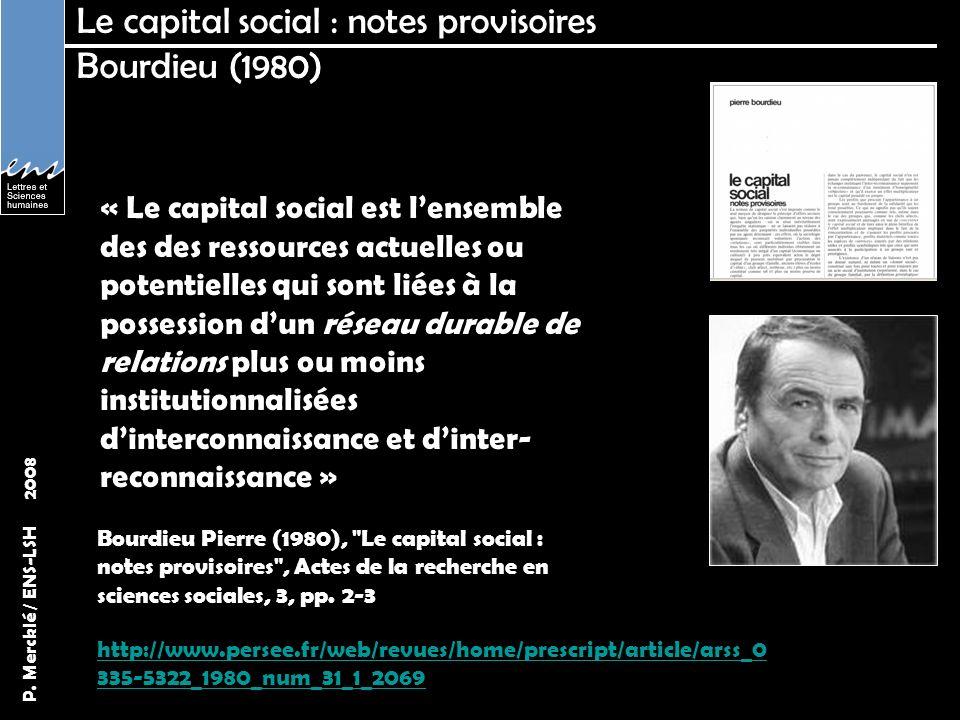 Le capital social : notes provisoires Bourdieu (1980)