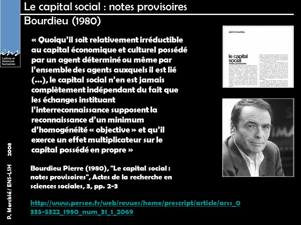 Le capital social : notes provisoires Bourdieu (1980)