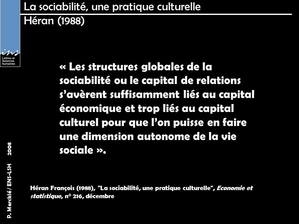 La sociabilité, une pratique culturelle Héran (1988)