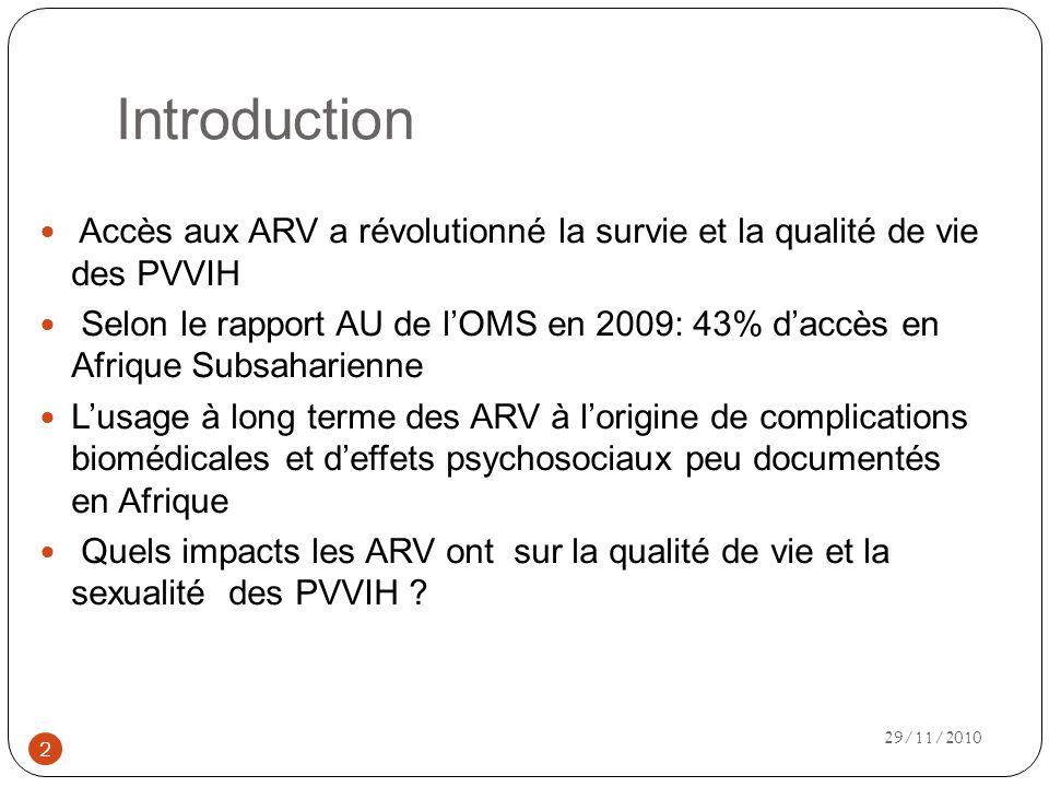 Introduction Accès aux ARV a révolutionné la survie et la qualité de vie des PVVIH.