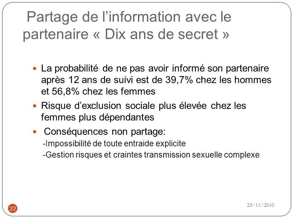 Partage de l'information avec le partenaire « Dix ans de secret »