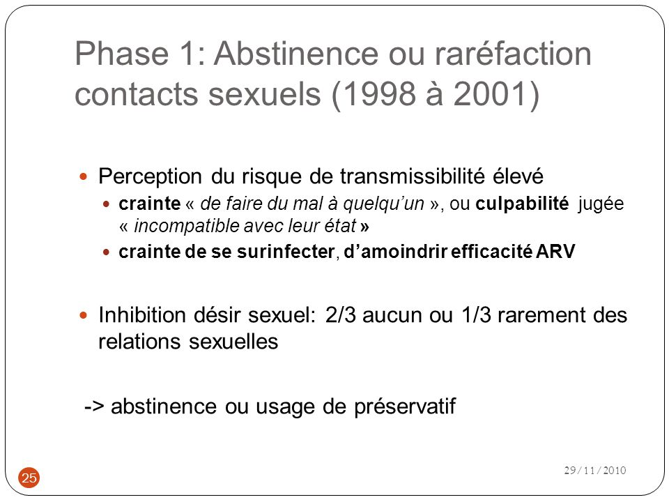 Phase 1: Abstinence ou raréfaction contacts sexuels (1998 à 2001)