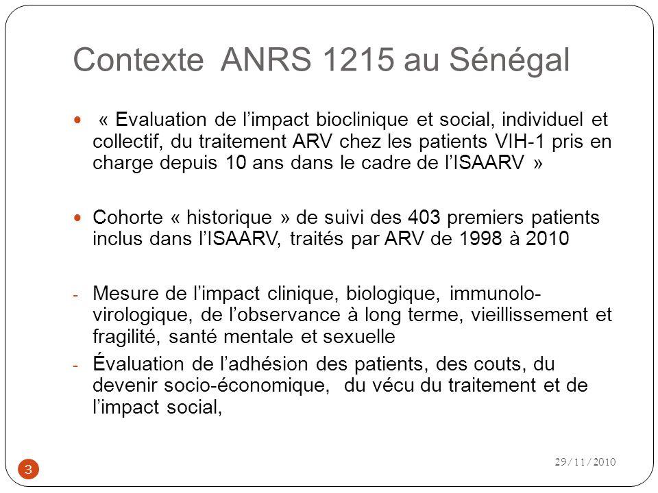 Contexte ANRS 1215 au Sénégal